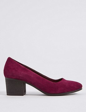 Marks and Spencer Suede Block Heel Crepe Effect Court Shoes
