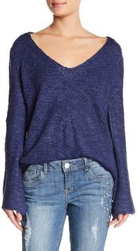 Democracy Lace-Up Bell Sleeve Sweater