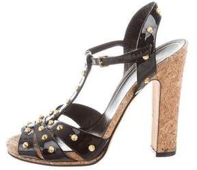 Gucci Spiked T-Strap Sandals