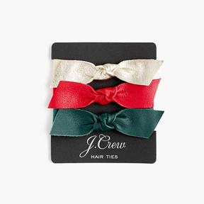 J.Crew Leather bow hair ties