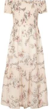 River Island Girls pink floral shirred bardot maxi dress
