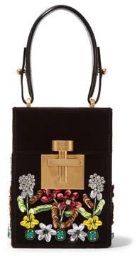 Oscar de la Renta Alibi Mini Embellished Velvet Clutch - Black