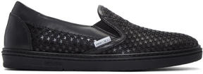 Jimmy Choo Black Satin Star Grove Slip-On Sneakers