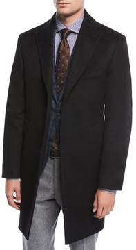 Neiman Marcus Single-Breasted Cashmere Top Coat, Black