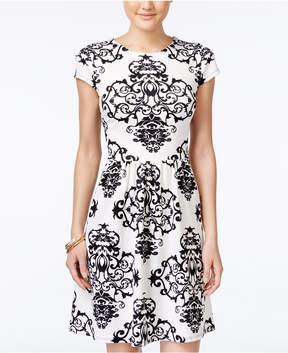 B. Darlin Juniors' Printed Illusion-Back Fit & Flare Dress