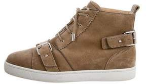Christian Louboutin Suede Mid-Top Sneakers