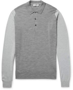 John Smedley Brightgate Two-Tone Merino Wool Polo Shirt