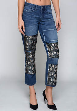 Bebe Jacquard Patch Crop Jeans
