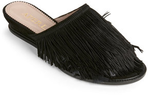 Aperlaï Black Tabatha Feathers & Fringe Wedge Slide Sandals