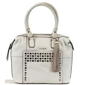 GUESS Women's Check Mix VG453810 Large Box Satchel Milk Handbag