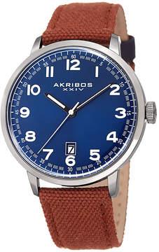 Akribos XXIV Mens Brown Strap Watch-A-1025brbu