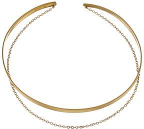Dogeared Plain Collar Choker w/ Draped Chain Necklace Necklace