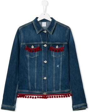 Dondup Kids pom pom embellished denim jacket