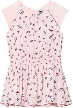Karl Lagerfeld Pink Icon Print Cap Sleeve Drop Waist Dress