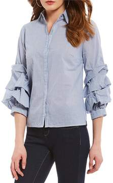 Daniel Cremieux Bobby Ruffle Sleeve Button Front Blouse
