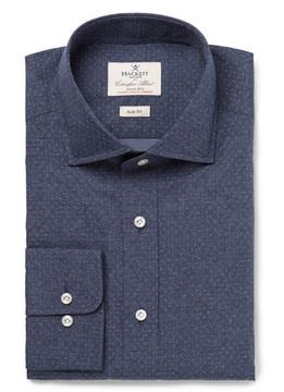 Hackett Blue Slim-Fit Cutaway-Collar Pin-Dot Cotton-Poplin Shirt