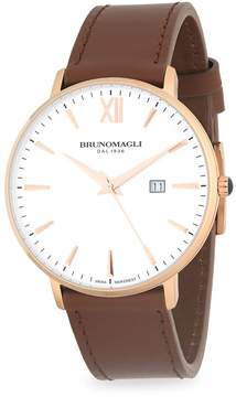 Bruno Magli Men's Stainless Steel and Gold Ion Plated Leather Strap Watch
