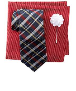 Ben Sherman Kensleigh Silk Plaid Tie, Pocket Square, & Lapel Set