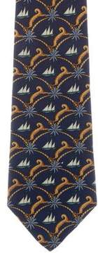Salvatore Ferragamo Silk Nautical Print Tie