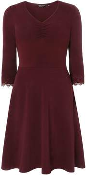 Dorothy Perkins Plum Lace Trim Fit and Flare Dress