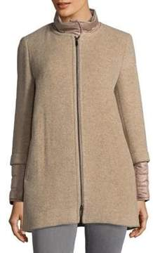 Cinzia Rocca Icons Petite Zip Front Wool Blend Coat with Removable Collar