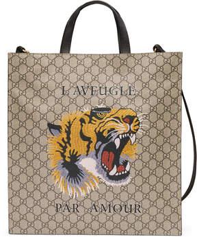 Tiger print soft GG Supreme tote