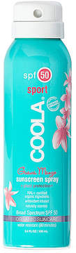Coola Travel Body SPF 50 Guava Mango Sunscreen Spray.