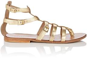 Barneys New York WOMEN'S METALLIC LEATHER GLADIATOR SANDALS