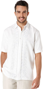 Cubavera Short Sleeve Front Tuck Embroidered Shirt