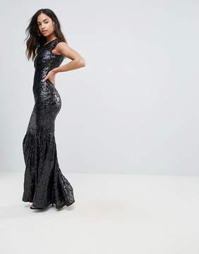 Club L Mesh Insert Sequin Maxi Dress