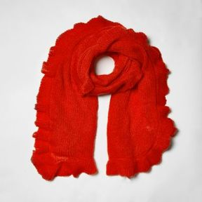 River Island Womens Red frill trim knitted scarf