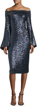 Theia Off-the-Shoulder Trumpet-Sleeve Sequin Cocktail Dress
