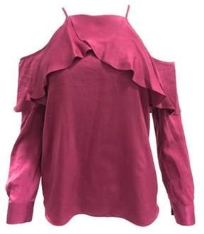 Bar III Cold Shoulder Satin Long Sleeve Blouse Top.