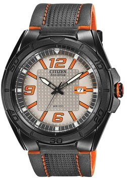 Citizen Men's Eco-Drive Grey/Orange Dial Black Leather Strap Watch