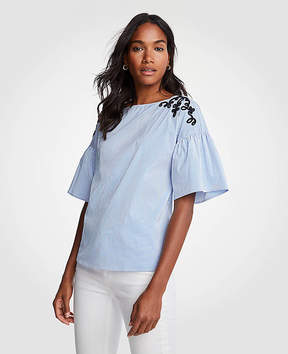 Ann Taylor Striped Embroidered Flare Sleeve Poplin Top