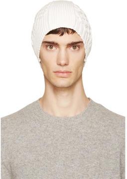 Maison Margiela Ecru Cable Knit Beanie