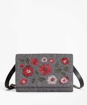 Brooks Brothers Floral-Embroidered Herringbone Wool Shoulder Bag