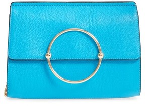 Milly Astor Pebbled Leather Flap Clutch - Blue