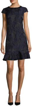 Donna Ricco Women's Jacquard Ruffle Dress
