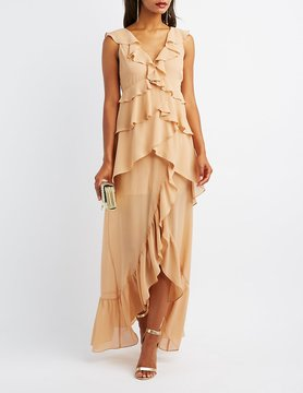 Charlotte Russe Tiered Ruffle Maxi Dress