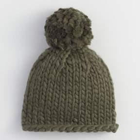 World Market Olive Chunky Knit Pom Hat