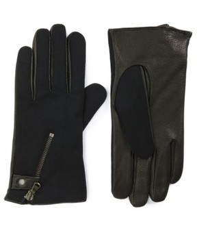 John Varvatos Men's Wool Blend Zip Gloves