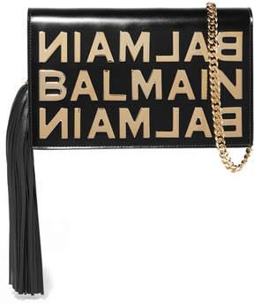 Balmain Embellished Leather Shoulder Bag - Black