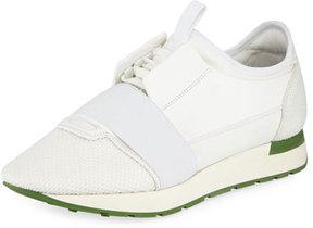 Balenciaga Men's Race Runner Mesh & Leather Sneaker, White
