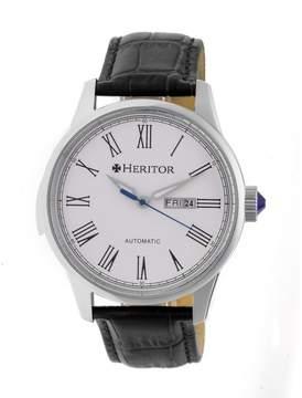 Heritor Prescott White Dial Black Leather Strap Automatic Men's Watch