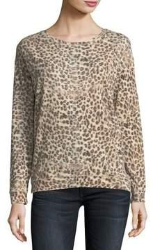 Neiman Marcus Majestic Paris for Leopard-Print Cotton/Cashmere Crewneck Sweatshirt