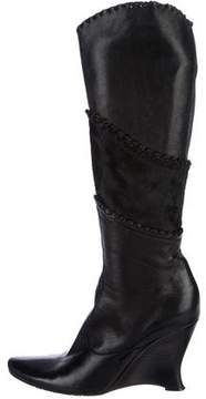Fabi Leather Pointed-Toe Wedged Boots