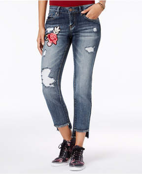 Dollhouse Juniors' Applique Ripped Stair-Step Skinny Jeans
