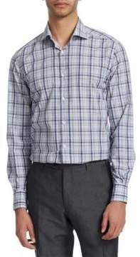 Corneliani Plaid Cotton Button-Down Shirt