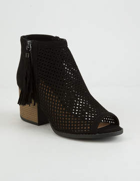 Qupid Peep Toe Perforated Womens Black Booties